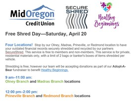 Mid Oregon Credit Union FREE SHRED DAY – Benefiting Healthy